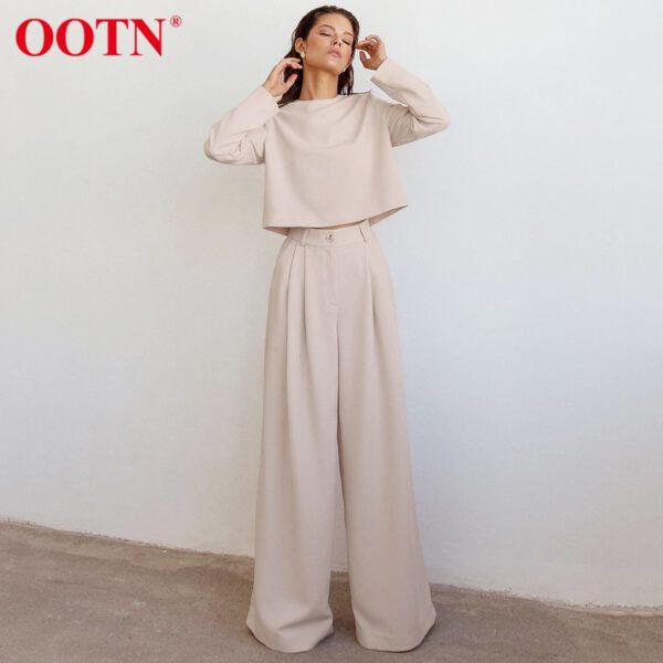 OOTN Street High Waist Wide Leg Pants Plus Size Women Solid Loose Streetwear Khaki Trousers Female Elegant Long Pants Spring