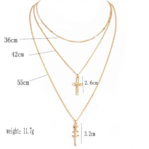 Women Fashion Multilayer Rose Flower Cross Clavicle Choker Necklace or Gold Chain Jewelry