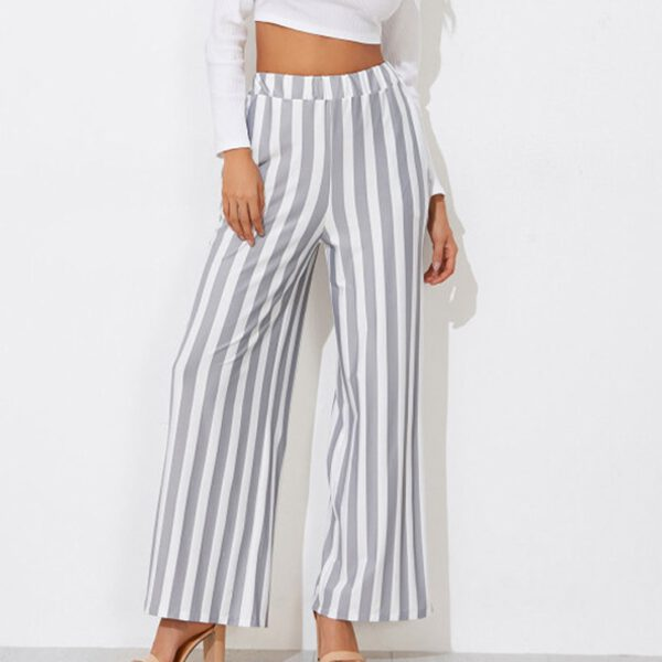 Spring Wide Leg Loose Pants Women Striped Vertical Lines Print Trousers Female Work Clothes Elegant Vintage Bottoms Office Chic