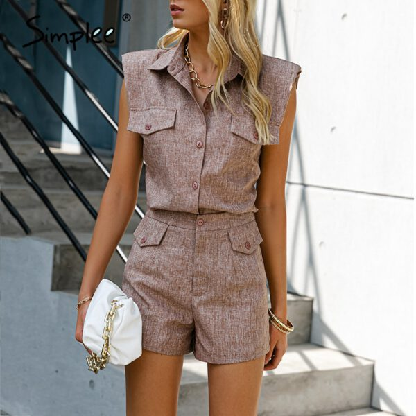 Simplee Sleeveless two piece set women's suit High waist office suits for women High street causel pocket shorts suit female
