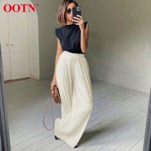OOTN Khaki Pleated Wide Leg Pants Women Trousers Elegant Casual Palazzo Pants Elastic High Waist Ruched Oversized Pants Ladies