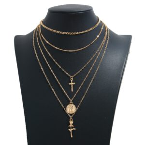 Fashion Rose Virgin Mary Cross Pendant Necklaces For Women Gold Color Multilayer Clavicle Chain Choker Necklace Collares