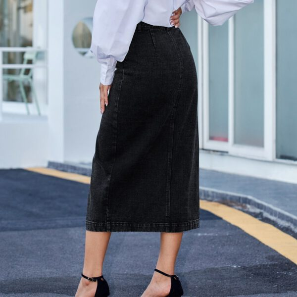 High Waist Denim Skirts for Women 2020 New Vintage Blue Black Washed Maxi One Step Package Hip Button Skirts Casual Streetwear