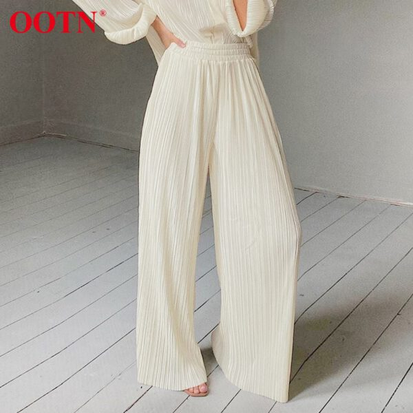 OOTN Khaki Pleated Wide Leg Pants Women Trousers Elegant Casual Palazzo Pants Elastic High Waist Ruched Oversized Pants Ladies